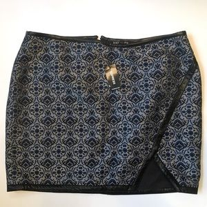 EXPRESS NWT Skirt Blue Black White with Black Trim
